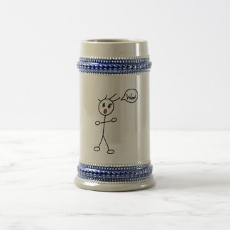Stick Figure WoW Surprised Black and White Beer Stein