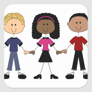Stick Figure Young People Square Sticker