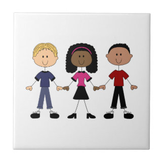 Stick Figure Young People Tile