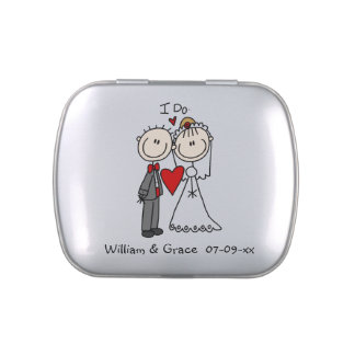 Stick Figures Couple I Do Tins and Jars w. Candy Jelly Belly Tin