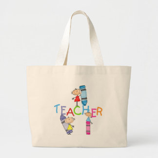 Stick Figures Crayons Teacher Tshirts and Gifts Large Tote Bag