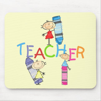 Stick Figures Crayons Teacher Tshirts and Gifts Mouse Pad