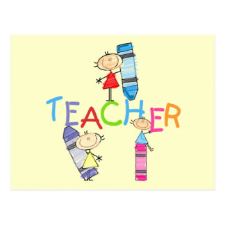 Stick Figures Crayons Teacher Tshirts and Gifts Postcard