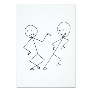 Stick Figures Dancing 3.5x5 Paper Invitation Card