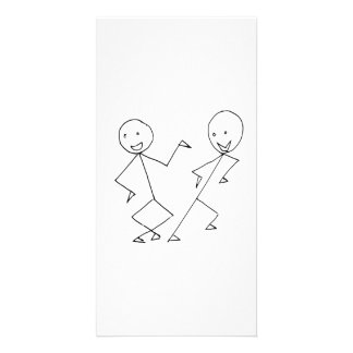 Stick Figures Dancing Photo Card