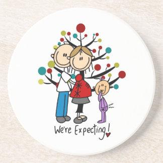 Stick Figures Expectant Parents Girl Drink Coaster