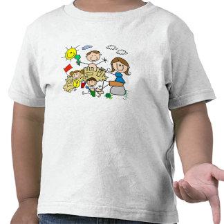 Stick Figures Family Beach Fun T Shirt