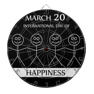 Stick figures holding hands to show happiness dartboard with darts