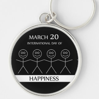 Stick figures holding hands to show happiness keychain