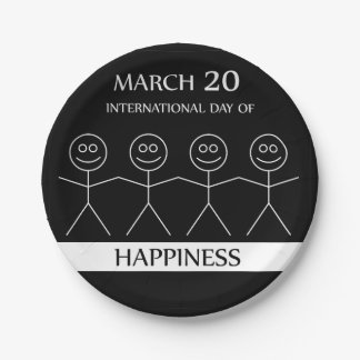 Stick figures holding hands to show happiness paper plate