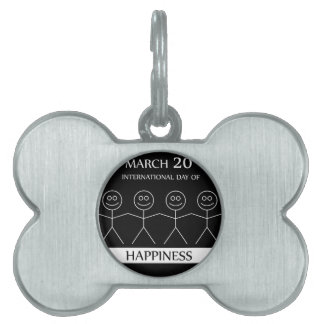 Stick figures holding hands to show happiness pet tag