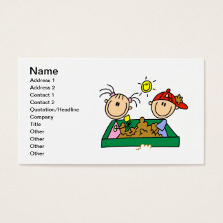 Stick Figures in Sandbox Business Cards