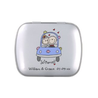 Stick Figures Just Married Tins and Jars w. Candy Jelly Belly Tins