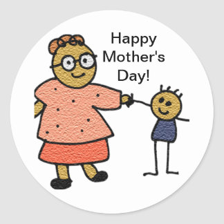 Stick Figures of Mother and Child for Mother's Day Round Sticker