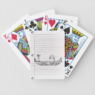 Stick Figures on a Gondola Boat Bicycle Playing Cards