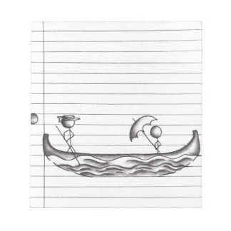 Stick Figures on a Gondola Boat Note Pad