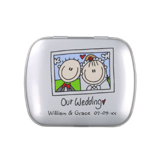 Stick Figures Our Wedding  Tins and Jars w. Candy Jelly Belly Candy Tin