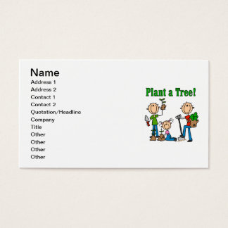 Stick Figures Plant a Tree Tshirts and Gifts Business Card
