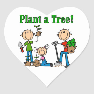 Stick Figures Plant a Tree Tshirts and Gifts Heart Sticker