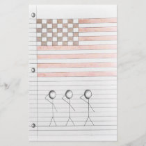 Stick Figures Salute American Flag on Lined Paper