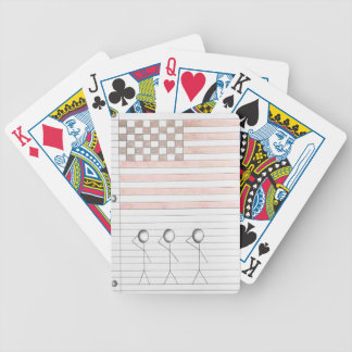 Stick Figures Salute American Flag on Lined Paper Bicycle Playing Cards