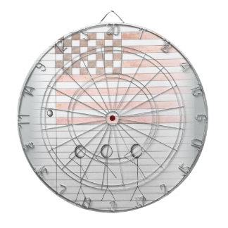 Stick Figures Salute American Flag on Lined Paper Dartboards