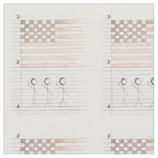 Stick Figures Salute American Flag on Lined Paper Fabric