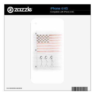 Stick Figures Salute American Flag on Lined Paper Skin For iPhone 4S
