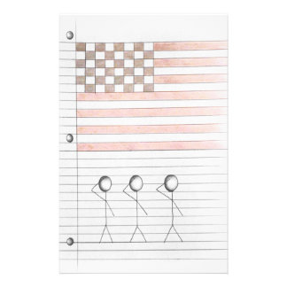 Stick Figures Salute American Flag on Lined Paper Stationery