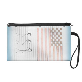 Stick Figures Salute American Flag on Lined Paper Wristlet Purse