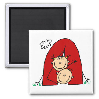 Stick Figures  Tenting Tshirts and Gifts 2 Inch Square Magnet