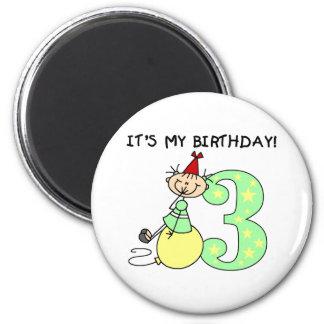 Stick Girl 3rd Birthday 2 Inch Round Magnet