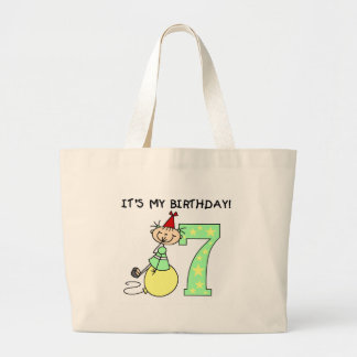 Stick Girl 7th Birthday Tote Bags