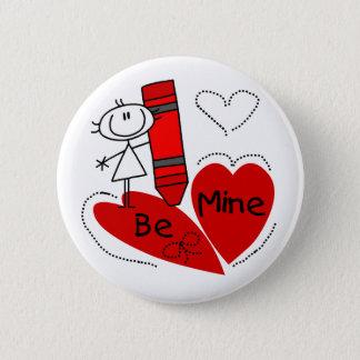 Stick Girl Be Mine Valentine Button