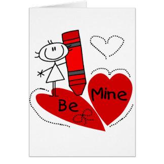 Stick Girl Be Mine Valentine Card
