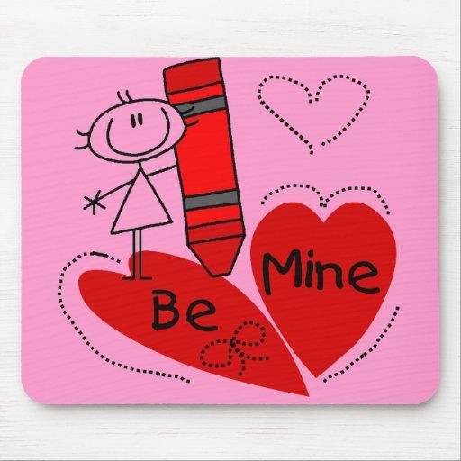 Stick Girl Be Mine Valentine Mouse Pad
