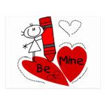 Stick Girl Be Mine Valentine Postcard