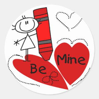 Stick Girl Be Mine Valentine Classic Round Sticker