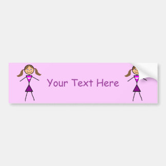 Stick Girl Brunette Bumper Sticker