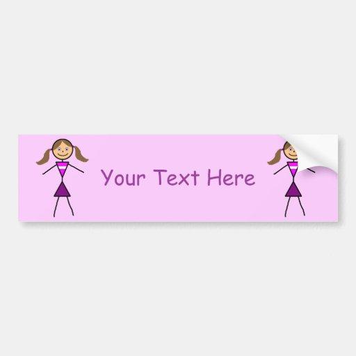 Stick Girl Brunette Bumper Sticker