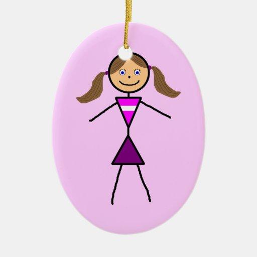 Stick Girl Brunette Ceramic Ornament