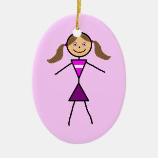 Stick Girl Brunette Christmas Ornament