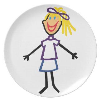 Stick Girl Dinner Plate