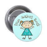 Stick Girl Drum Majors Rock Gift Pinback Button