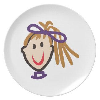 Stick Girl Face Melamine Plate