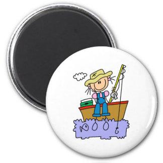Stick Girl Fishing 2 Inch Round Magnet
