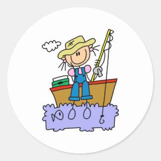 Stick Girl Fishing Classic Round Sticker