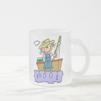 Stick Girl Fishing Frosted Glass Coffee Mug
