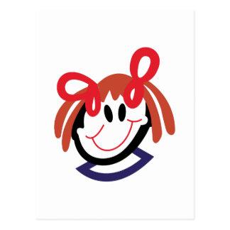 Stick Girl Head Postcard