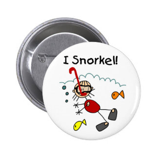 Stick Girl I Snorkel Pinback Button